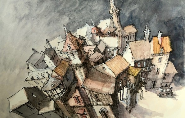Picture the city, figure, home, tale, watercolor