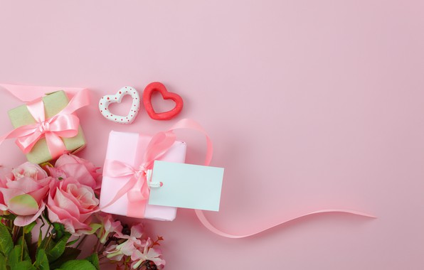 Picture love, background, pink, gift, heart, roses, bouquet, hearts, love, pink, romantic, hearts, valentine's day, gift, ...