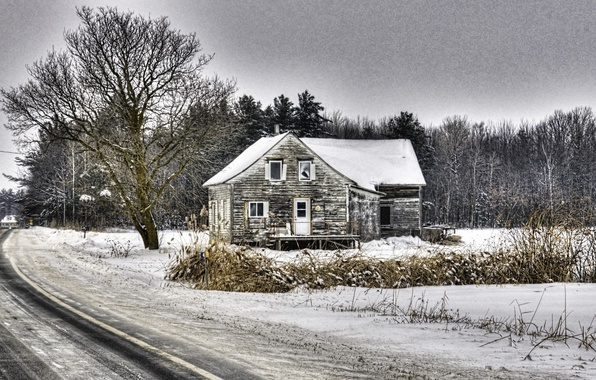 Picture winter, road, nature, house