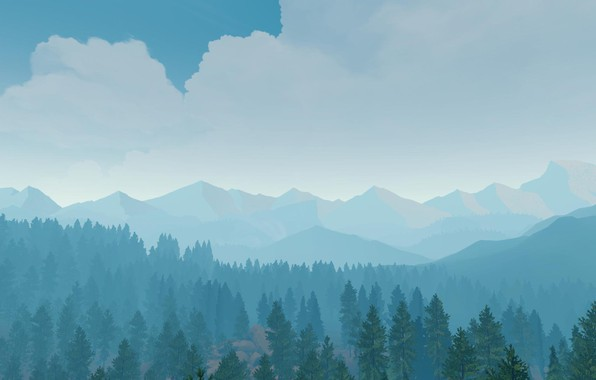 Picture Mountains, The game, Trees, Forest, View, Hills, Landscape, Art, Campo Santo, Firewatch, Fire watch, Nitromonteiro