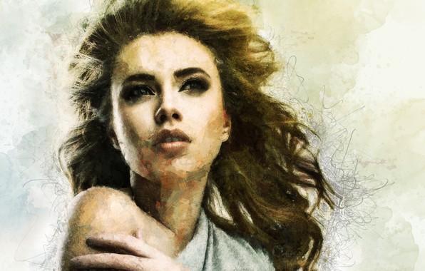 Photo wallpaper girl, face, hair, portrait, art