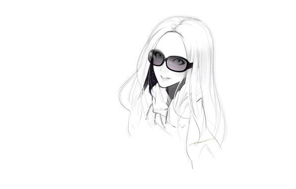 Picture face, smile, figure, sketch, white background, long hair, sunglasses, portrait of a girl