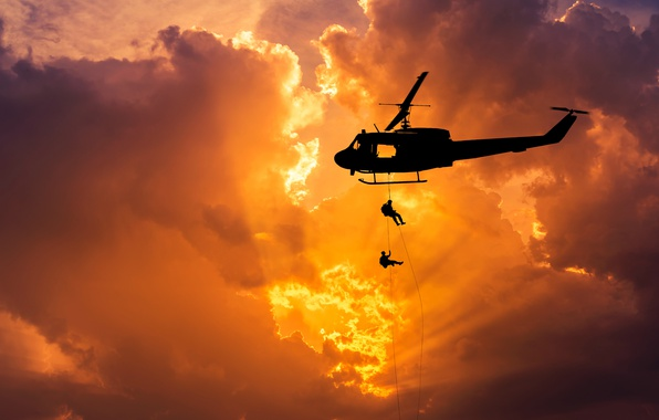 Picture the sky, flight, dawn, spinner, silhouette, helicopter, bokeh, landing, helicopter, Bell, UH-1, Iroquois, Huey, landing, …
