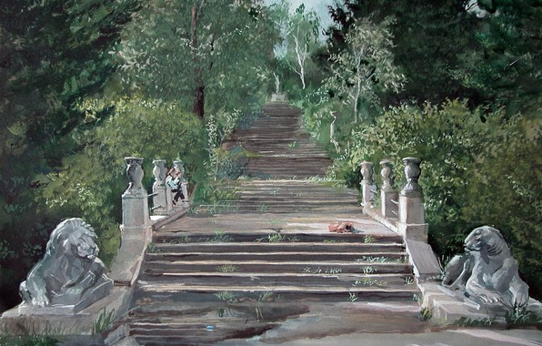 Picture landscape, tiger, Leo, steps, Aibek Begalin, Two thousand one, The memory of the Soviet Union