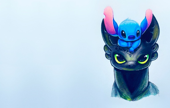 Wallpaper figure, art, kids, toothless, children's, stitch images for desktop, section минимализм - download