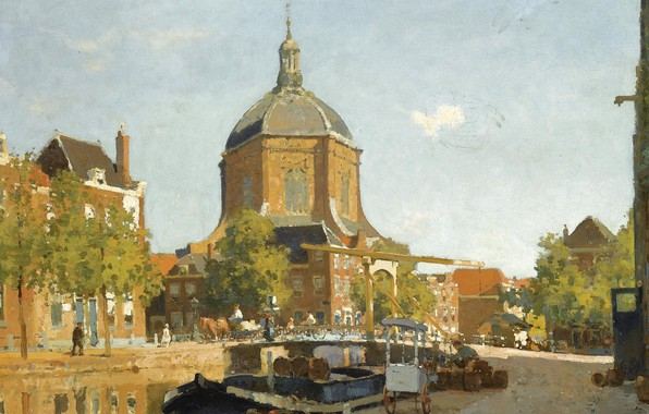 Photo wallpaper picture, the urban landscape, Figures on a Canal near the Marekerk. Leiden, Cornelis Vreedenburgh