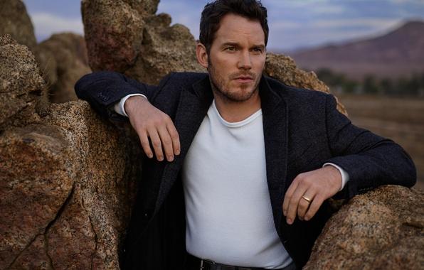 Picture stones, the evening, actor, coat, photoshoot, nature, Vanity Fair, Chris Pratt, Mark Seliger, Chris Pratt