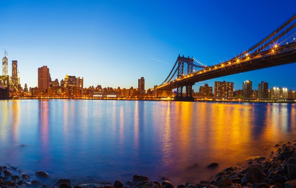Picture the sky, lights, stones, shore, home, New York, the evening, lights, panorama, Bay, USA, bridges, …