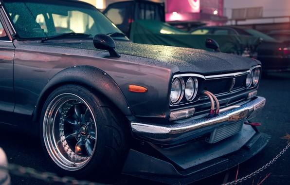 Picture Nissan, GT-R, 2000, Front, Skyline, Rain