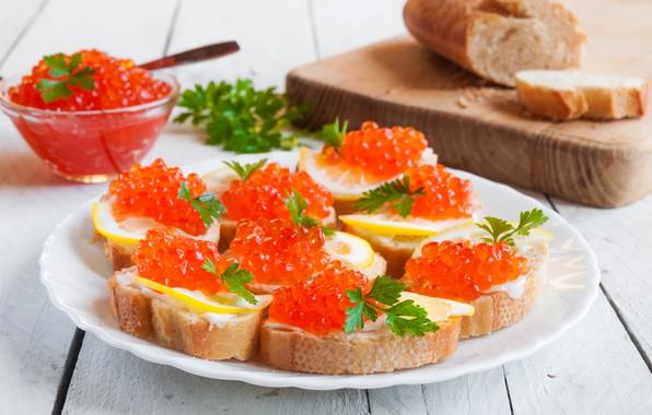 Picture table, plate, bread, Board, red, caviar, bokeh, sandwiches