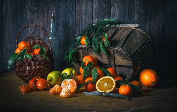 Picture lemon, orange, still life, basket, citrus, wood, tangerines