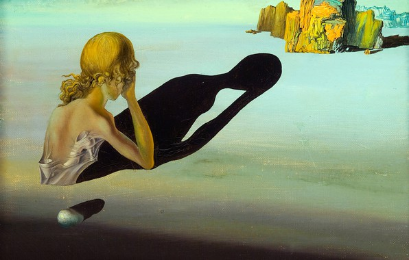Picture surrealism, shadow, picture, Salvador Dali, Salvador Dali, Remorse or Sphinx Embedded in the Sand