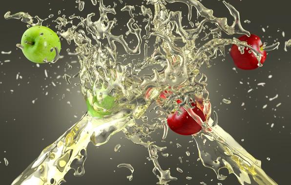 Picture squirt, apples, splash, juice