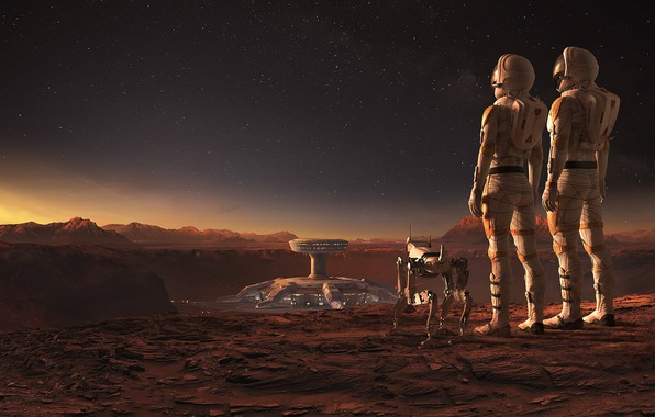 Picture landscape, robot, construction, astronauts, Mars WIRED, Jacek Irzykowski