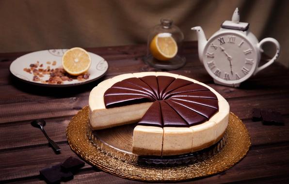Picture lemon, watch, chocolate, cheese, cheesecake