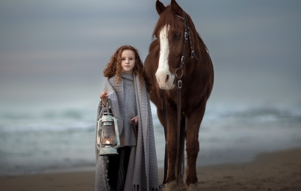 Picture horse, girl, lantern