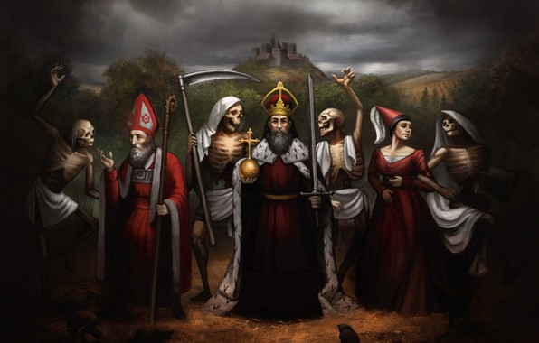 Picture forest, woman, death, castle, king, medieval, reaper, staff, bishop, sickle, robe, religion