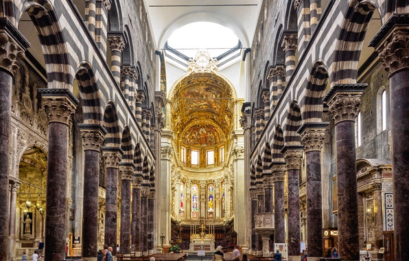 Picture Italy, arch, the altar, bench, column, Genoa, the nave, The Cathedral of San Lorenzo