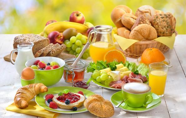 Picture raspberry, apples, coffee, orange, Breakfast, cheese, milk, juice, honey, grapes, cakes, jam, buns