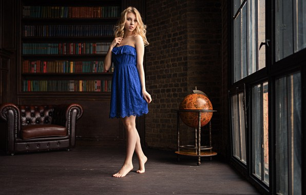 Picture pose, room, books, Windows, chair, barefoot, makeup, dress, hairstyle, blonde, legs, beauty, is, blue, globe, …
