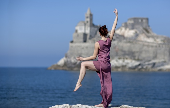 Picture sea, girl, pose, mood, dance, dress