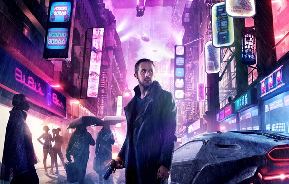 Picture night, the city, lights, gun, weapons, people, fiction, rain, street, home, jacket, umbrellas, signs, car, …