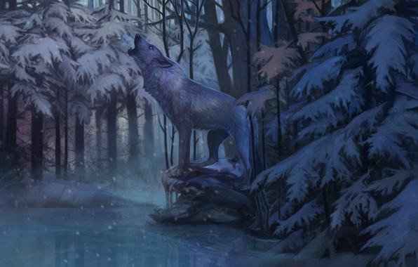 Picture cold, winter, loneliness, wolf, ice, predator, twilight, art, howling, dense forests, mater, Aivoree