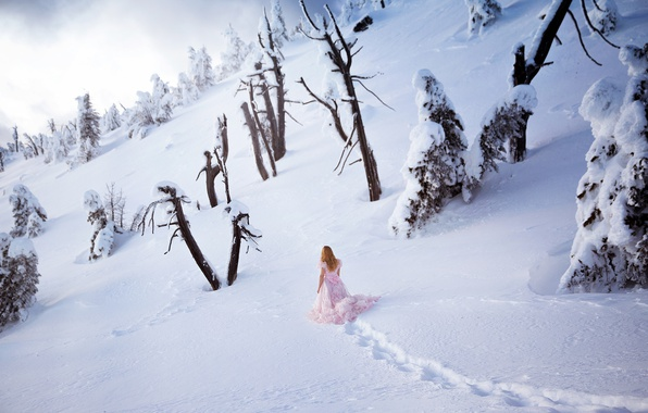 Picture winter, girl, snow, nature