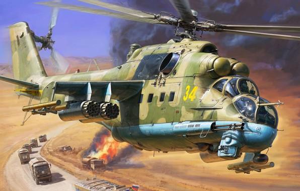 Picture Crocodile, Hind, Mi-24P, Russian attack helicopter, OKB M. L. Mil., Mi-24 gun GSH-30K