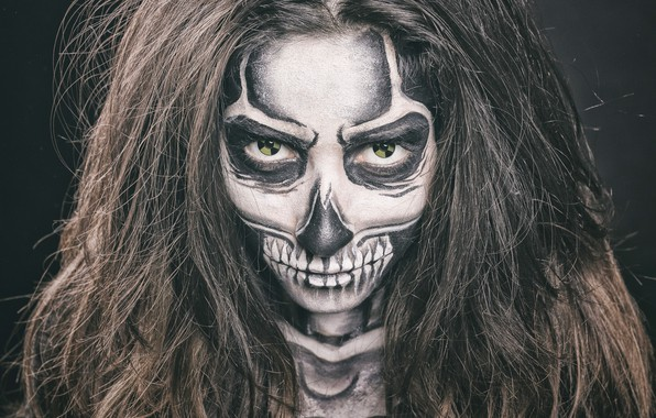 Picture eyes, look, girl, face, style, hair, skull, radiation, makeup, skeleton, manicure