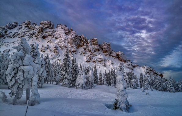 Picture winter, snow, trees, rock, ate, Russia