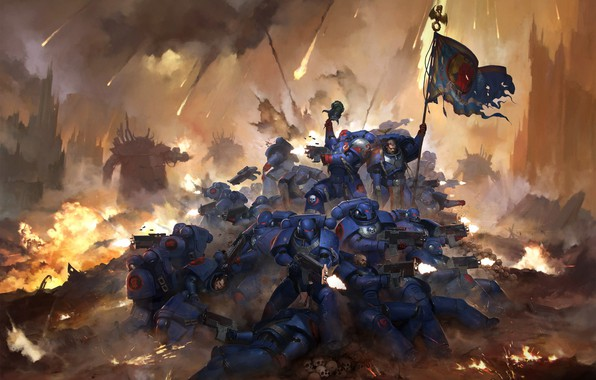 Picture warriors, banner, Warhammer 40 000, 30th Anniversary