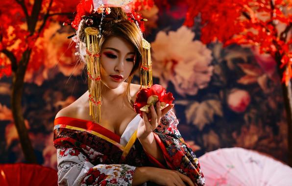 Picture flower, decoration, umbrella, Japan, Asian