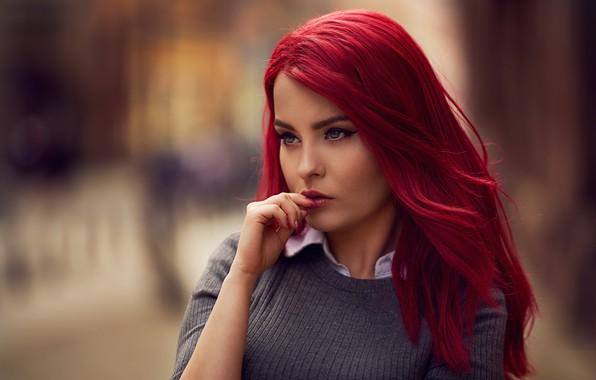 Picture pose, model, portrait, makeup, hairstyle, beauty, jacket, bokeh, Marta, Ariel Grabowski