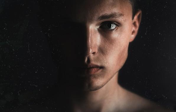 Picture eyes, light, face, eyes, darkness, dark, guy, Blik, self portrait, close, the person's gender, light …