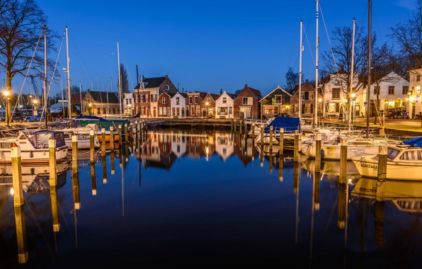 Picture night, lights, reflection, home, yachts, boats, Netherlands, harbour, Middelharnis