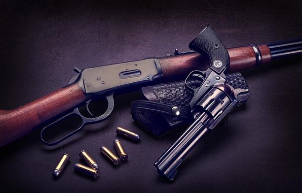 Picture the gun, cartridges, revolver