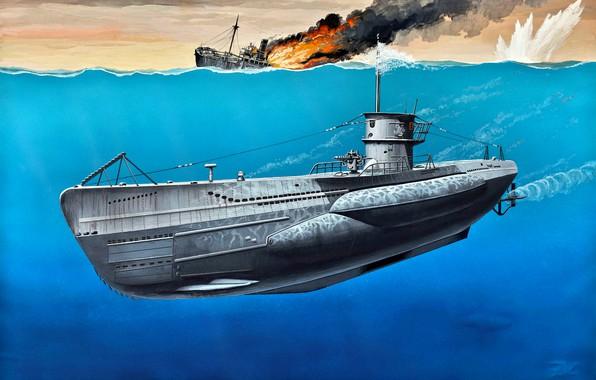 Picture German, art, painting, submarine, VIIC, WWII, Type, U-Boot, Navy