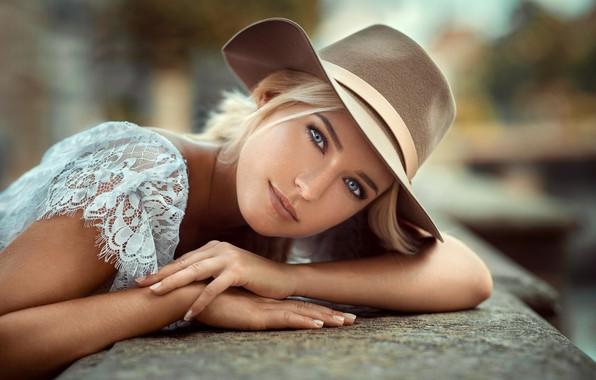 Picture look, model, portrait, hat, makeup, hairstyle, beauty, bokeh, Eva, Lods Franck, Eva Mikulski