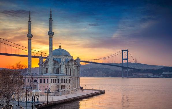 Wallpaper bridge, Strait, mosque, Istanbul, Turkey ...