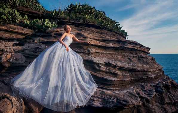 Picture sea, girl, rock, photo, dress