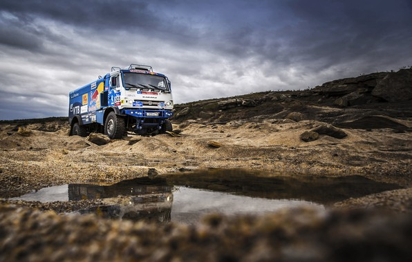 Photo wallpaper Sport, Speed, Clouds, Truck, Race, Master, Puddle, Beauty, Russia, Kamaz, Rally, Rally, KAMAZ, The roads, ...