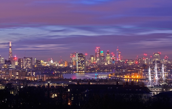 Picture lights, river, ship, England, London, home, panorama, Thames