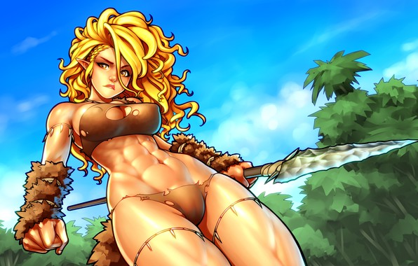 Picture forest, chest, girl, hair, elf, body, belly, art, blonde, spear, torso, muscle, elf