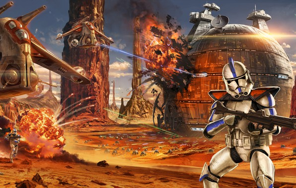 Picture Star Wars, art, soldiers, battle, the battle, Star wars, clones, Jude Smith, Battle of Geonosis, …