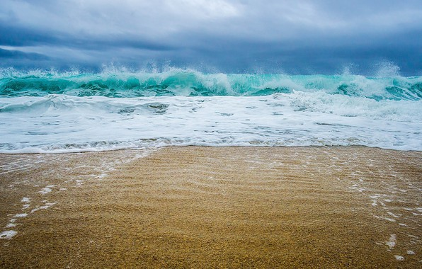 Picture sand, sea, foam, water, squirt, shore, coast, wave, surf
