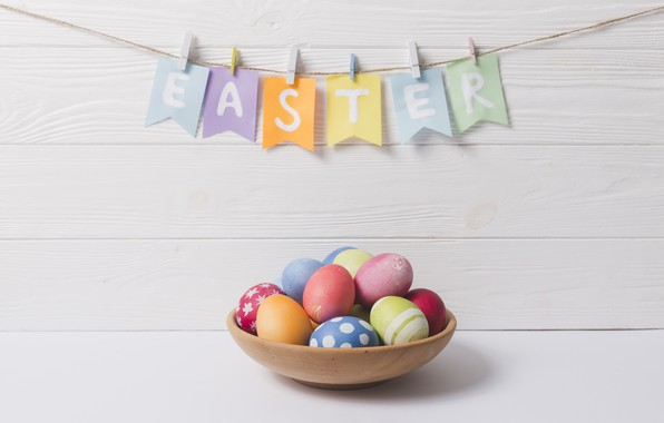 Picture eggs, Easter, Holiday, Garland, Flags