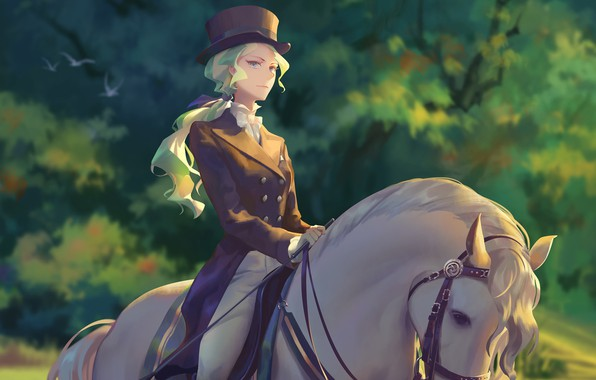 Picture girl, horse, anime, art, Academy for witches, Little Witch Academia