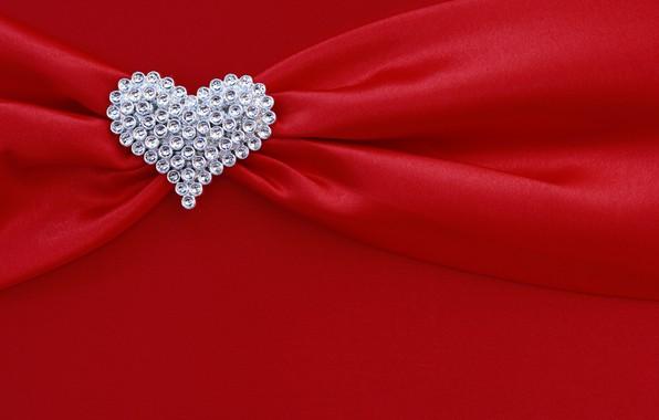 Picture red, background, heart, silk, rhinestones, fabric, red, folds, heart, texture, silk, diamonds, drape
