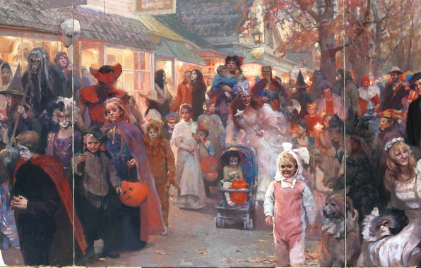 Picture children, people, holiday, Halloween, fun, masquerade, Parade, HongNian Zhang, Triptych